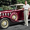 Digital Art Titled Colourized Johnny Weissmuller and his 1932 Burgandy Chevy Deluxe