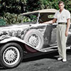 Digital Art Titled Colourized Johnny Weissmuller and his 1932 Chrome Chevy Deluxe
