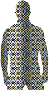 Mesh silhouette of male upperbody to mid-thigh