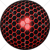 Digital Art Titled Red Centre Black Polygon Sphere